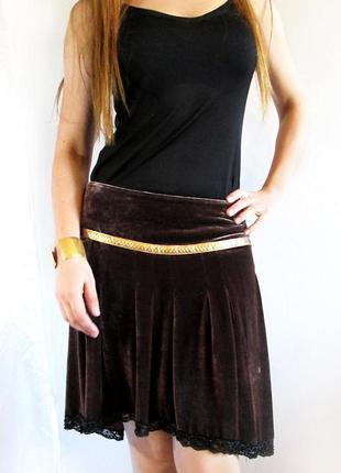 Fashion!! испанская эксклюзивная велюровая юбка с кружевом