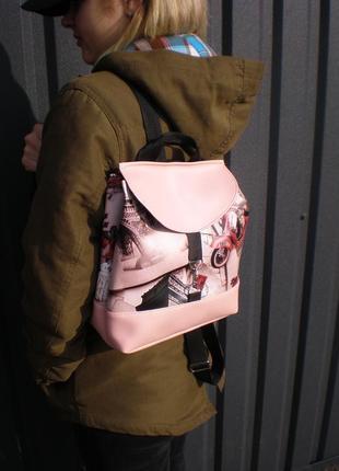 """Рюкзак ручной работы """"париж в розовом"""""""