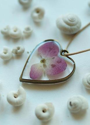 Кулон-сердце с цветком гортензии \ металлическая рамка