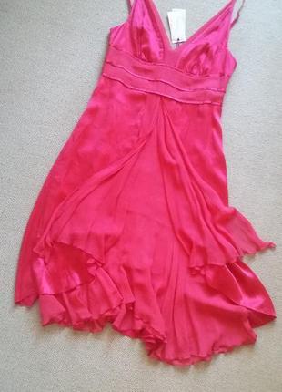 Новое шикарное платье натуральный шелк размер 12-14