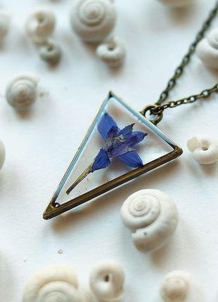 Кулон-треугольник с дельфиниумом \ металлическая рамка