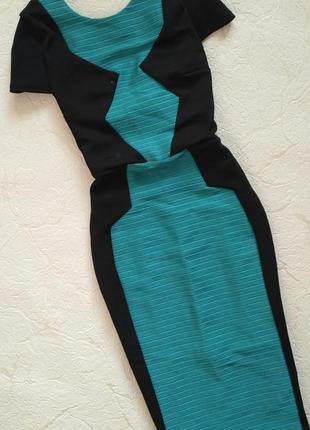 Платье облегающее вечернее с открытой спинкой чёрное бирюзовое геометрия miss selfridge