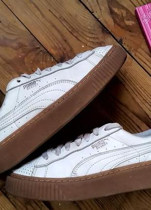 Оригинал puma basket platform core puma white rihanna  кеды кроссовки на платформе