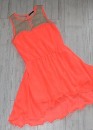 Яркое коралловое платье kira plastinina