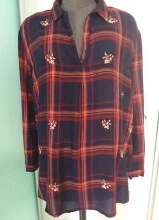 Красивая натуральная клетчатая рубашка с вышивкой большого размера