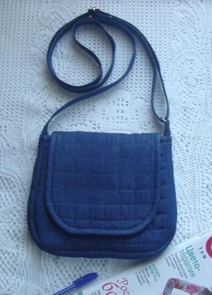 Джинсовая сумочка через плечо с длинной ручкой