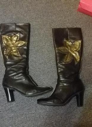 Сапоги ботинки кожанные кожа замок каблук