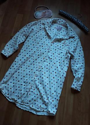 Теплая фланелевая рубашка-платье для дома и сна