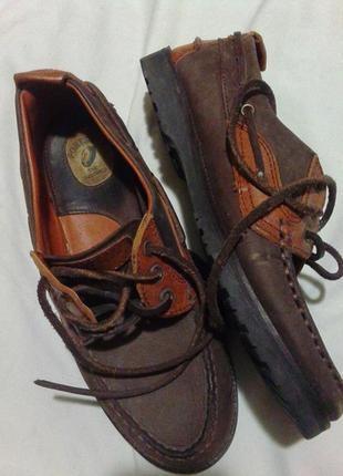 Мощные непромокаемые неубиваемые кожаные топсайдеры  туфли ботинки кожа италия portside