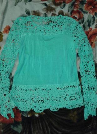 Шикарная ажурная блуза бирюза