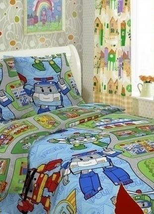 1,5-спальный комплект постельного белья (robocar poli)