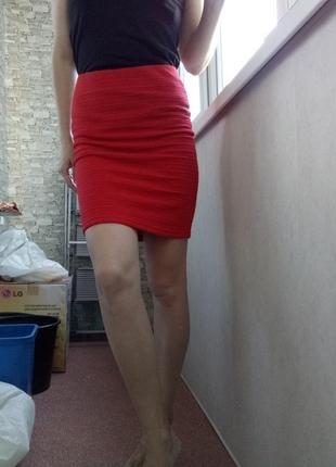 Фактурная мини миди юбка new look
