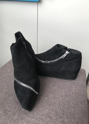 Ботинки ботильоны  замша кожа натуральная