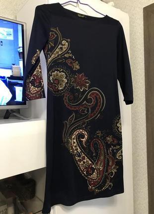 Платье трикотаж с этно принтом