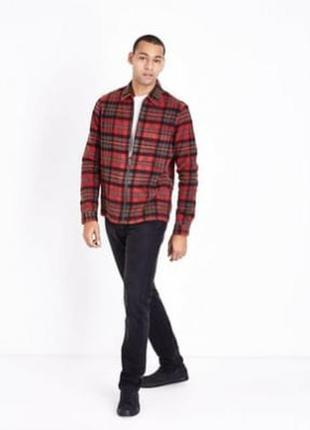 Очень тёплая стильная рубашка куртка на молнии в клетку байковая, хлопковая