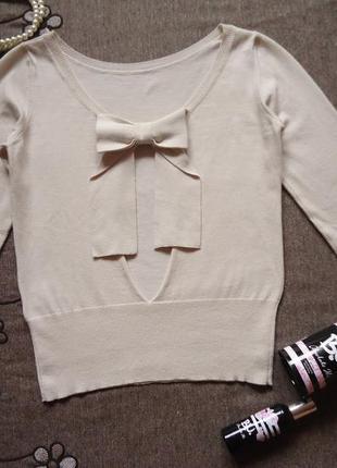 Джемпер с оригинальной спиной, меринос в составе, свитер