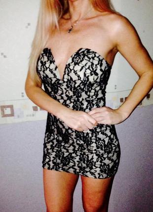 Вечернее коктельное платье из кружева раз м