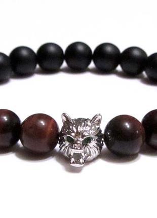 Мужской браслет из натурального камня, бусина голова волка, фур-раlux milano