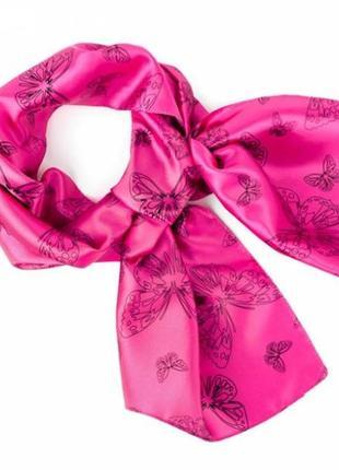 Яркий женский розовый шарф шарфик платок с бабочками