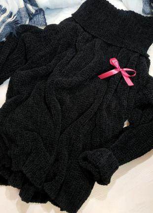 Чёрный свитер кофта гольф платье