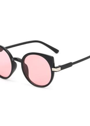 Черные очки кошечки розовые круглые линзы кошки cat eye