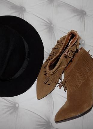 Замш! натуральные мега-комфортные ботиночки с бахромой цвета кэмел