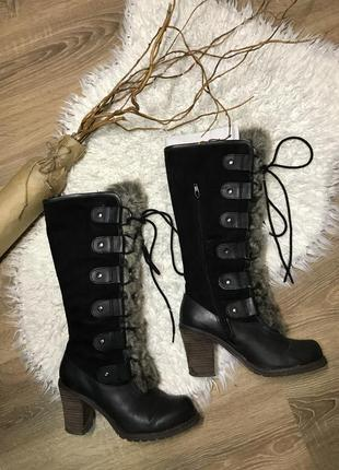 Сапоги высокие со шнуровкой толстый каблук
