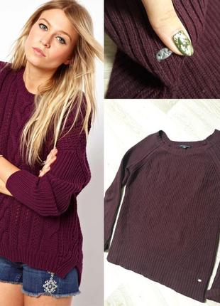 Вязаный свитер винного цвета.марсала.