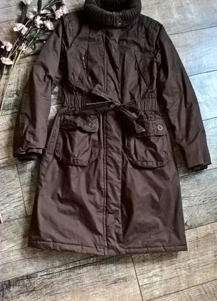 Демисезонная куртка-парка,модельная с поясом/коричневая от papaya-м-ка