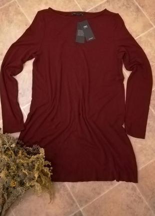 Платье в рубчик цвета бордо m&s