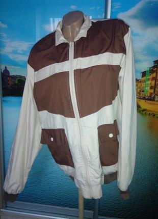 Ветровка куртка курточка беж коричневая л-хл 12-14 р