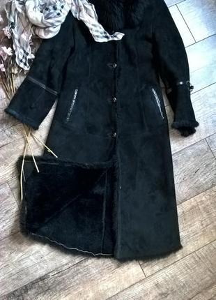 Натуральная черная длинная дубленка от anna bucce/лама/овчина/s-ка
