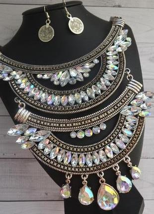Массивное металлическое колье с камнями ожерелье в античном стиле бохо + серьги серебро