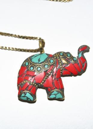 Цепочка - подвеска слоник с натуральными камнями
