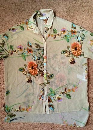 Красивая рубашка шифоновая в модный принт