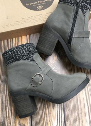 Mas artisan оригинал серые замшевые ботинки на широком каблуке бренд из сша
