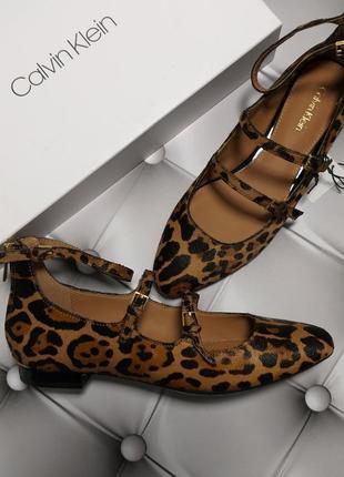 Calvin klein оригинал леопардовые балетки из меха пони бренд из сша