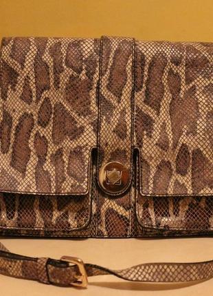 Трендовая сумка нат.кожа под рептилию (питон)