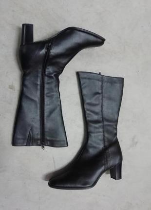 Черные сапоги на каблуке демисезон