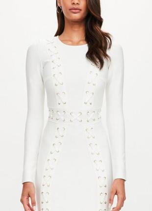 Бандажное белое платье missguided