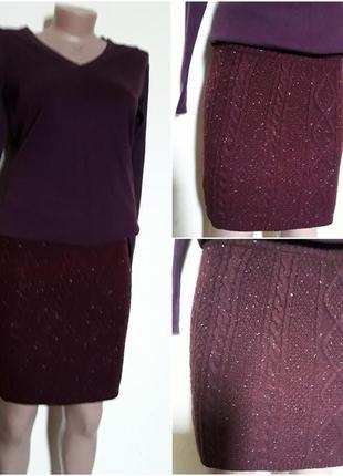 Шерстяная  короткая юбка  вязаная косами