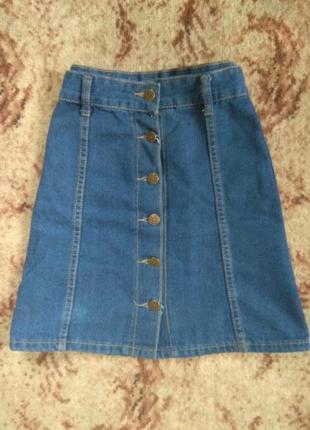 Юбка джинс джинсовая высокая талия
