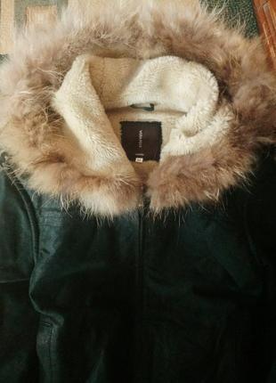 Натуралочка итальянская дубленка с шиммером куртка шуба кожа зимняя капюшон мех