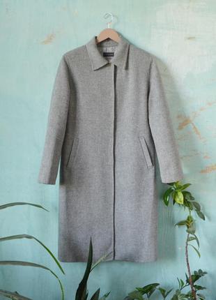 Шерстяное кашемировое ангоровое серое пальто миди massimo dutti