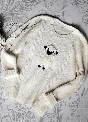 Роскошный теплый вязанный свитер cotton.