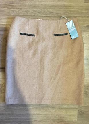 Тёплая юбка актуального цвета camel.25%шерсть