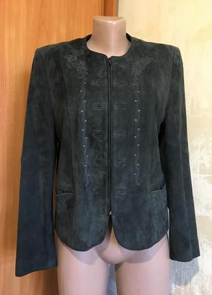 Натуральная замшевая куртка,пиджак с вышивкой!!