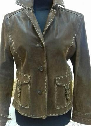 Кожаная куртка, размер 38, коричневая