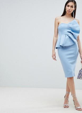 Неопреновое платье с веером asos,р-р 10