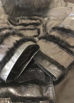 Качественная кожаная демисезонная/зимняя курточка с натуральным мехом утепленная3